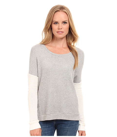 Velvet by Graham & Spencer - Waffle Knit Long Sleeve Pullover (Heather Grey/Winter) Women's Long Sleeve Pullover