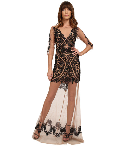 For Love and Lemons - Lotus Maxi Dress (Black/Nude) Women