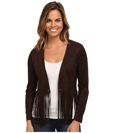 Karen Kane - Faux Suede Fringe Jacket (Brown) Women's Coat