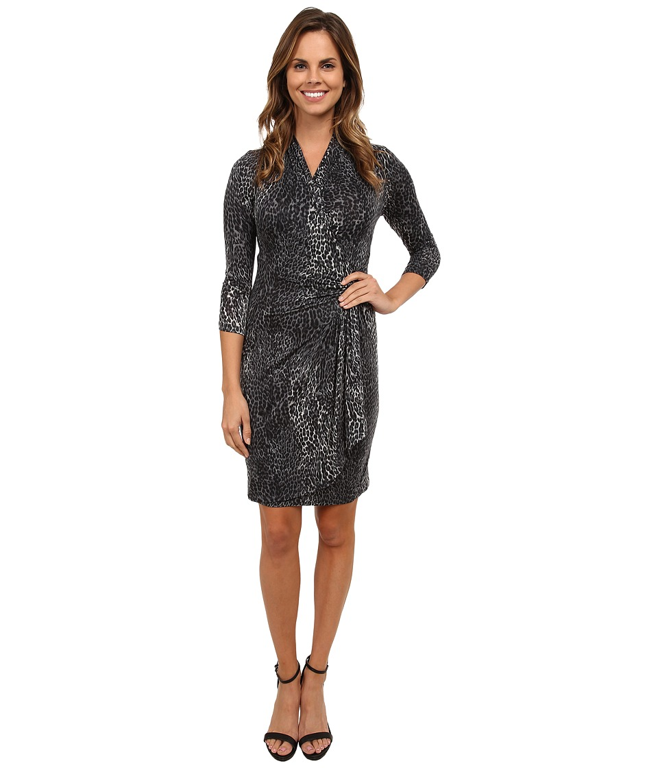 Karen Kane - Snow Leopard Cascade Wrap Dress (Print) Women's Dress
