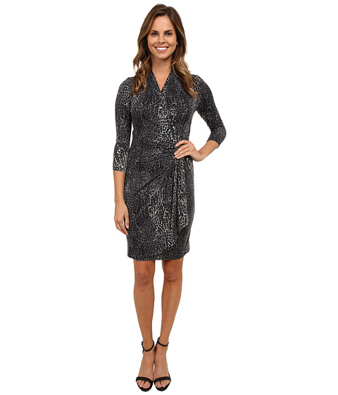 Karen Kane - Snow Leopard Cascade Wrap Dress (Print) Women