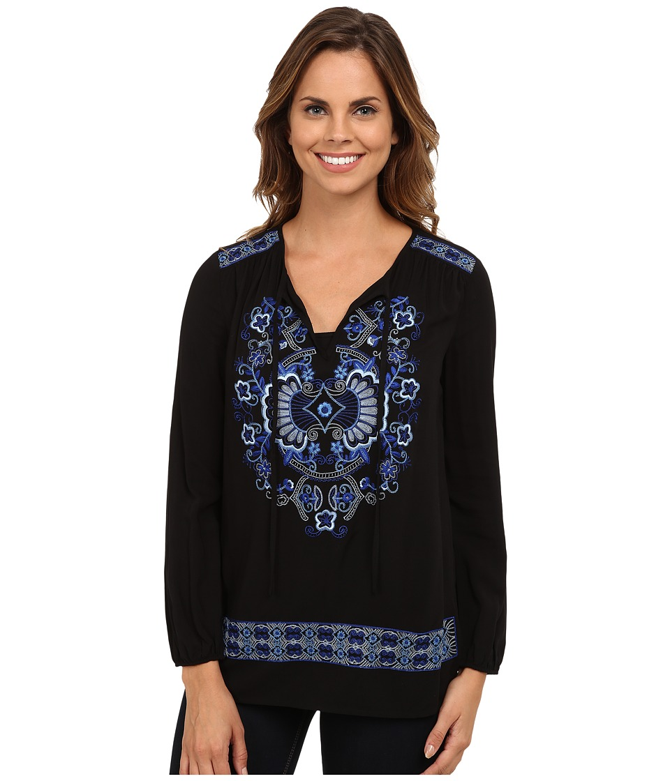Karen Kane Embroidered Peasant Tie Top (Black) Women's Clothing