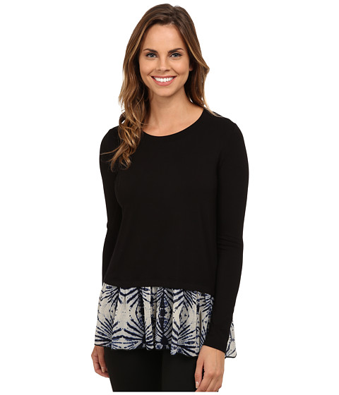 Karen Kane - Print Hem Contrast Top (Black) Women's Clothing