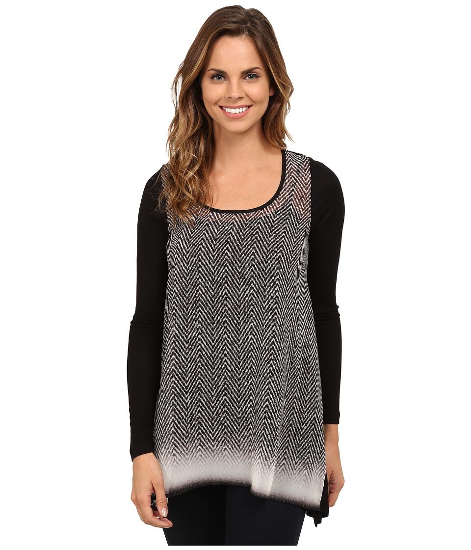 Karen Kane - Long Sleeve Handkerchief Top (Print 1) Women's T Shirt