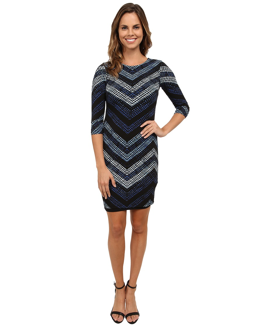 Karen Kane - Cerulean Chevron Sheath Dress (Print) Women's Dress