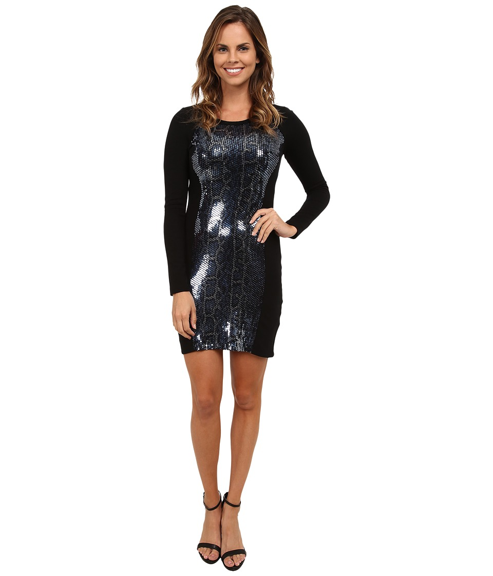 Karen Kane Snake Sequin Panel Dress (Black w/ Royal) Women's Dress