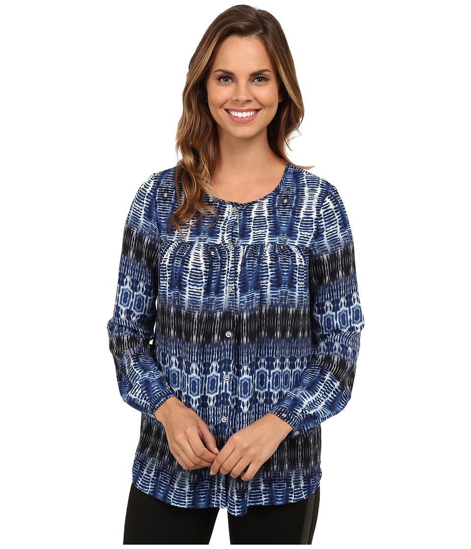 Karen Kane - Blue Batik Blouse (Print) Women's Blouse