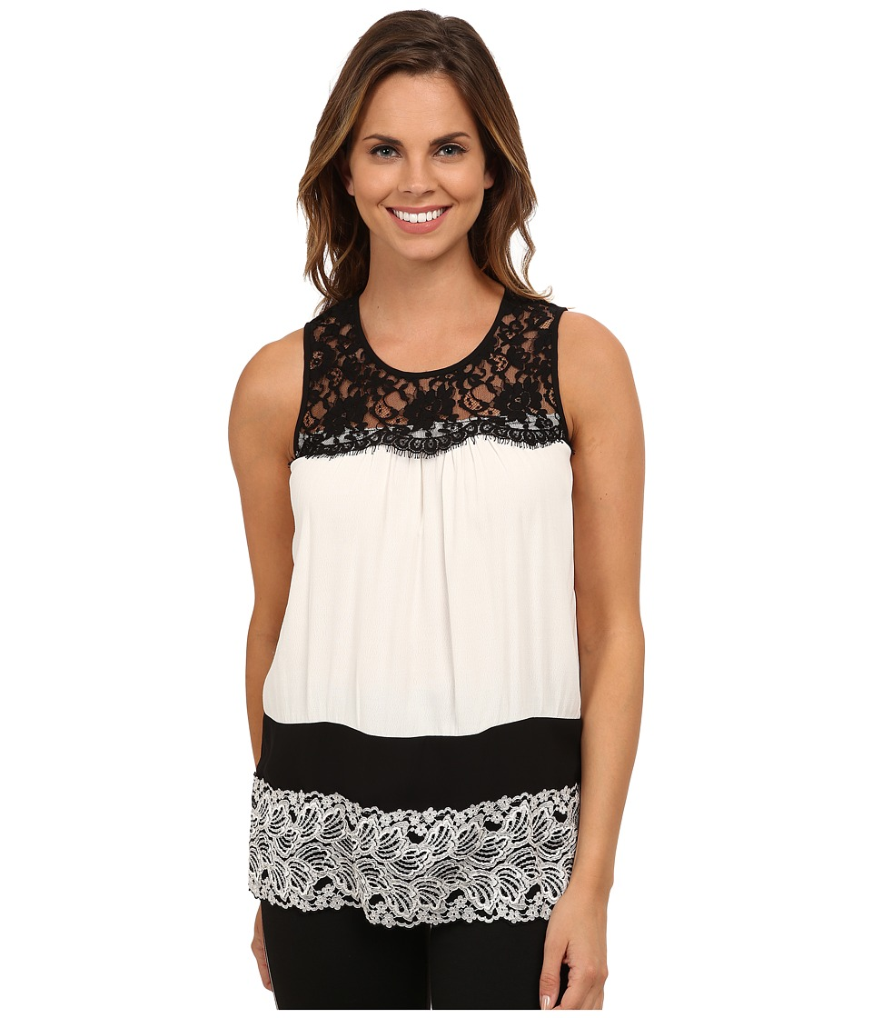 Karen Kane - Multi Lace Color Block Blouse (Black w/ Cream) Women's Blouse