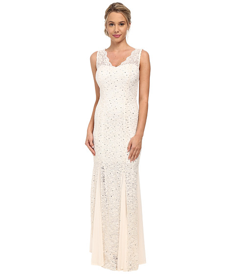 Alejandra Sky - Sleeveless Scalloped Strap Gown (Ivory/Gold) Women