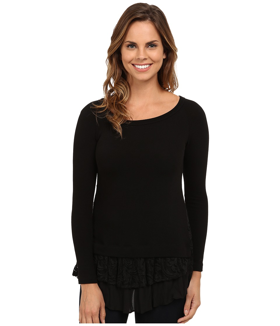 Karen Kane - Lace Inset Sweater (Black) Women's Long Sleeve Pullover