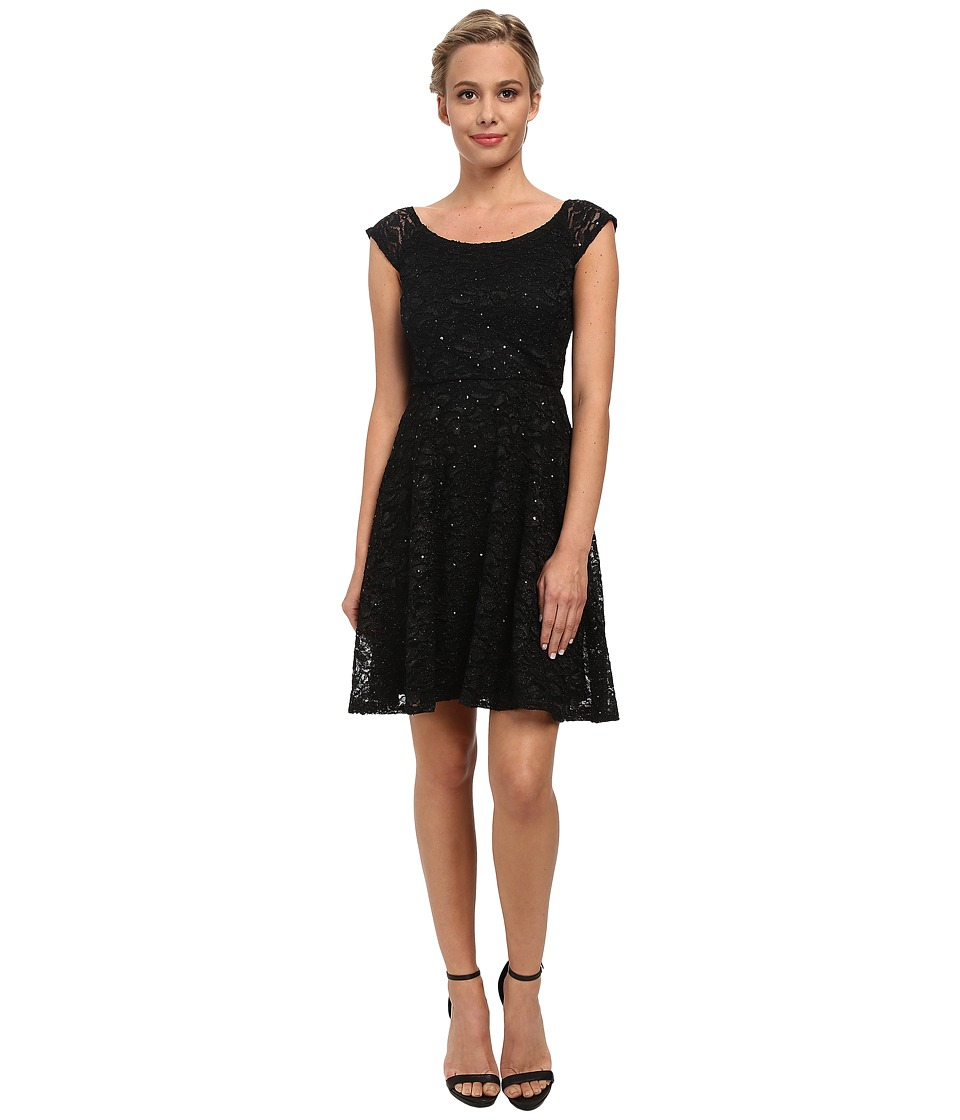 Alejandra Sky - Glitter Stretch Lace Skater Dress (Black) Women