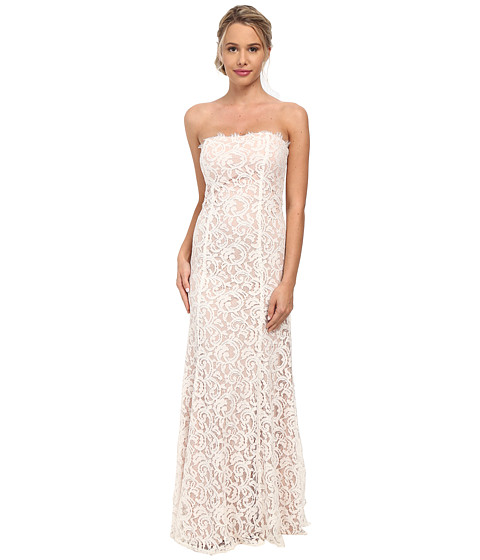 Alejandra Sky - Strapless Lace Gown w/ Train Back Hem (Ivory/Taupe) Women