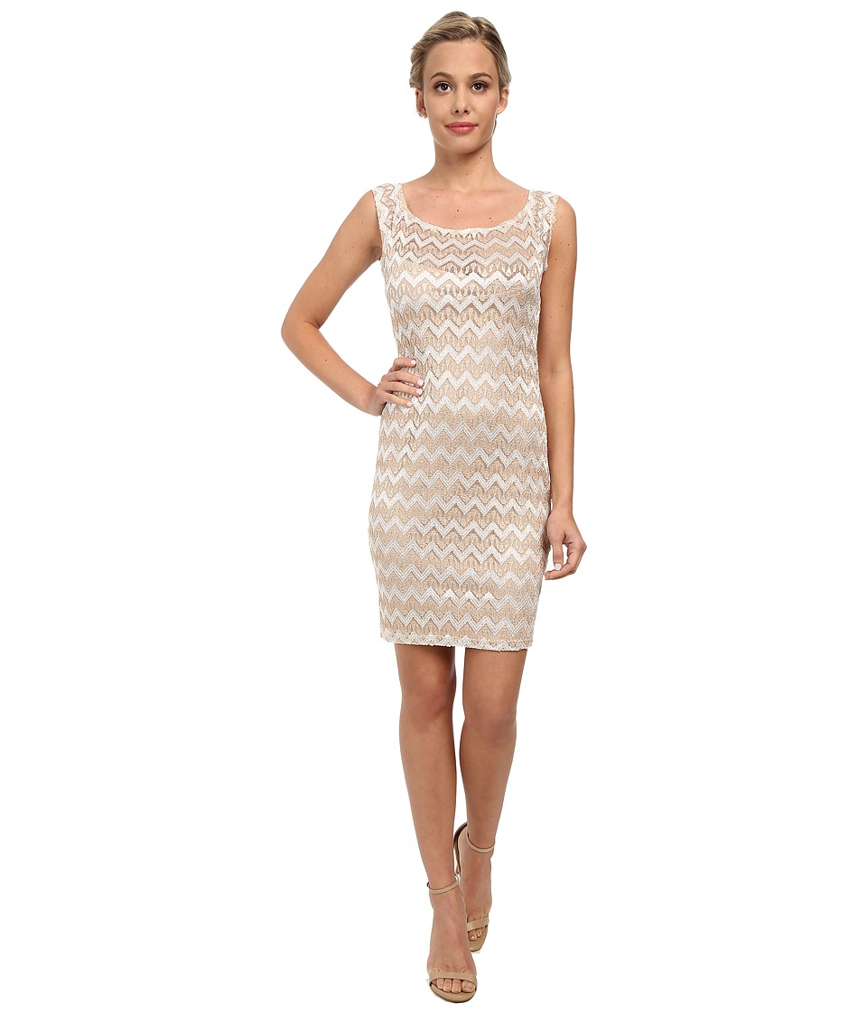 Alejandra Sky - Zig Zag Lace Scoop Neck Dress (Gold/Ivory) Women