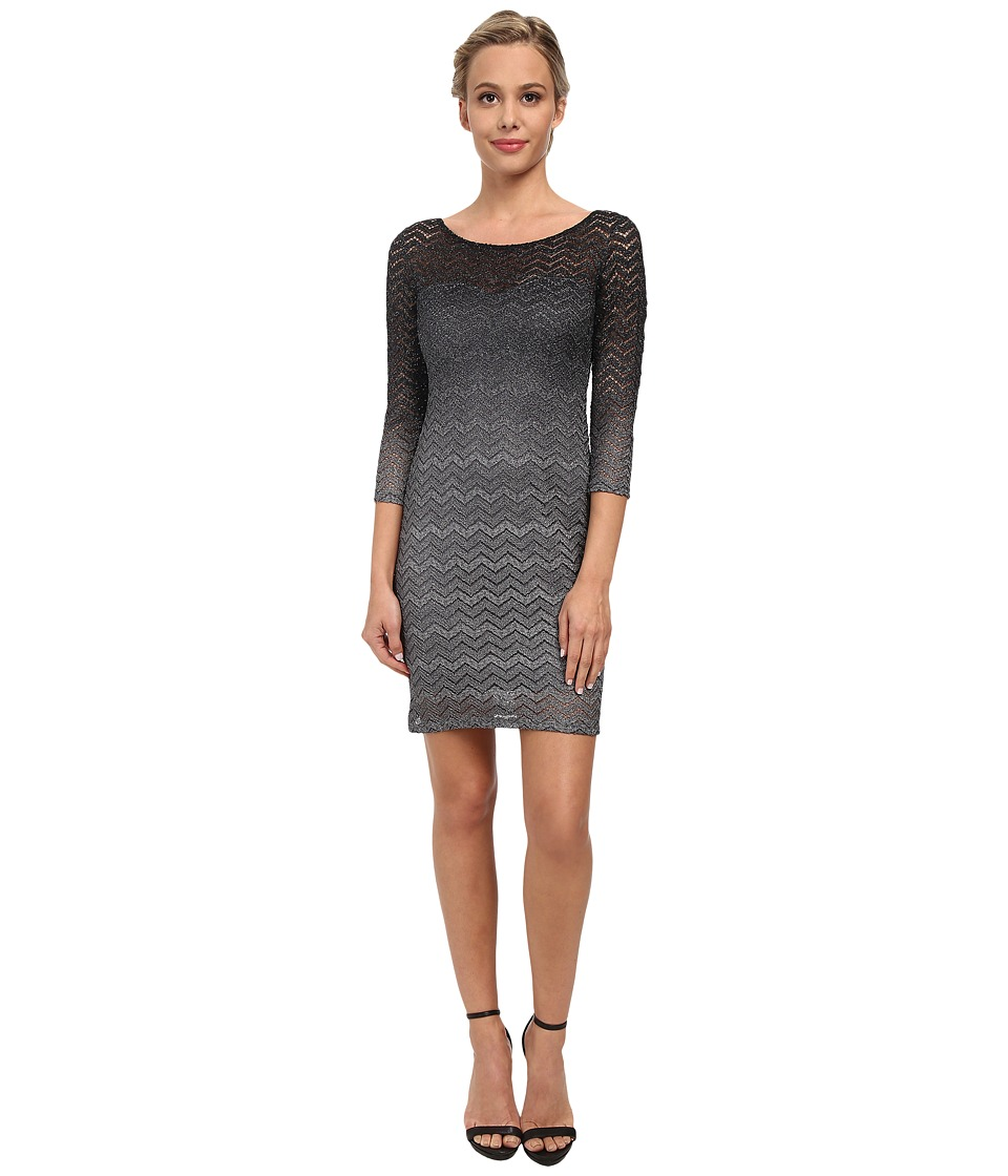 Alejandra Sky - Zig Zag Illusion Neck Short Dress (Black/Silver) Women's Dress