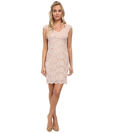 Alejandra Sky - Short Lace Dress w/ Scalloped Hem (Blush) Women
