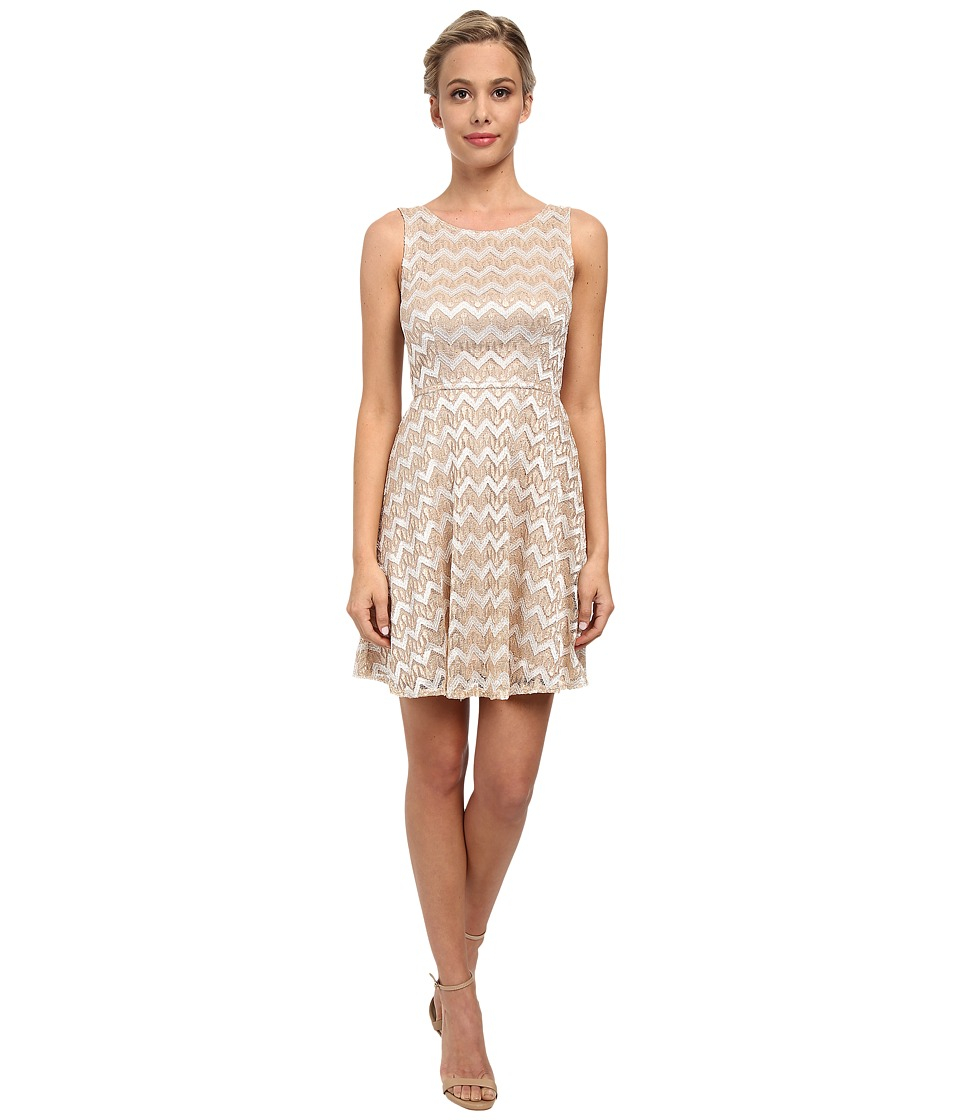 Alejandra Sky - Zig Zag Lace Skater Dress (Gold/Ivory) Women's Dress