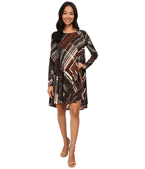 Karen Kane - Patchwork Print Swing Dress (Print) Women's Dress