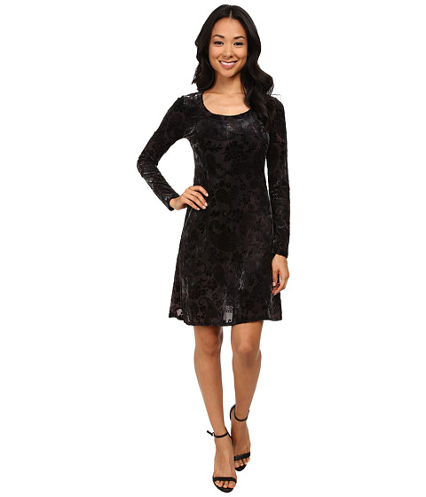 Karen Kane - Velvet Underground Burnout Dress (Black) Women