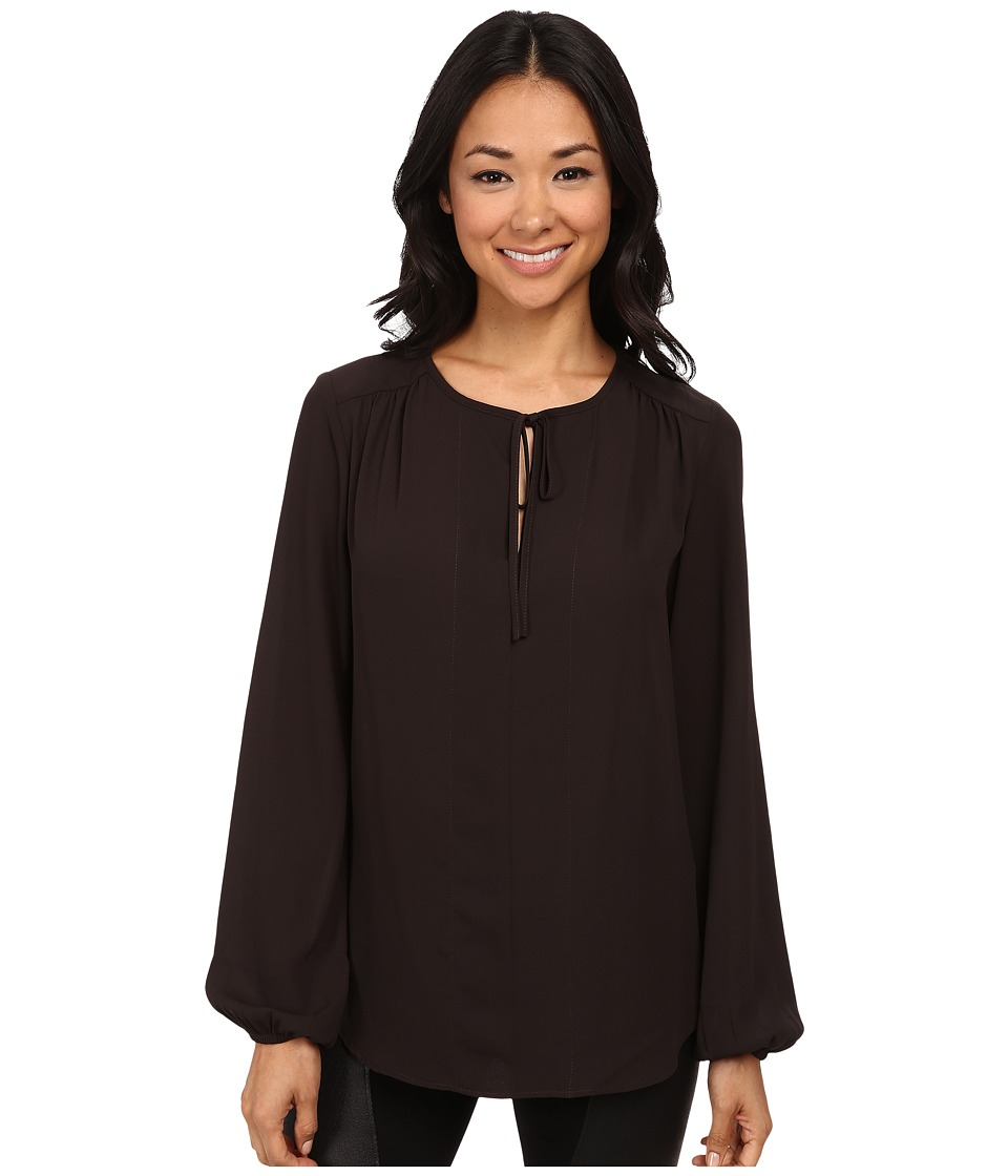 Karen Kane - Split Placket Tie Front Top (Brown) Women