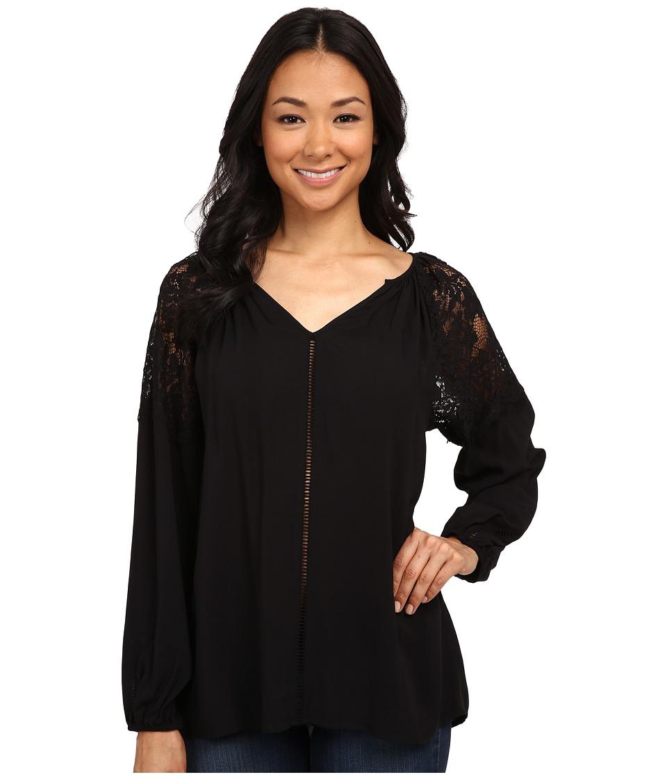 Karen Kane - Lace Shoulder Top (Black) Women's Clothing