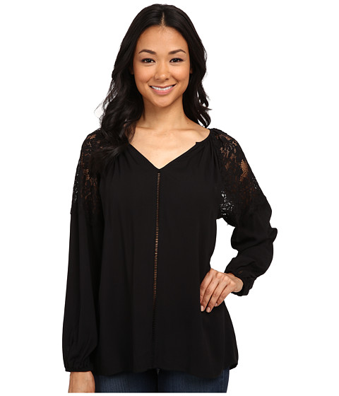 Karen Kane - Lace Shoulder Top (Black) Women's Clothing