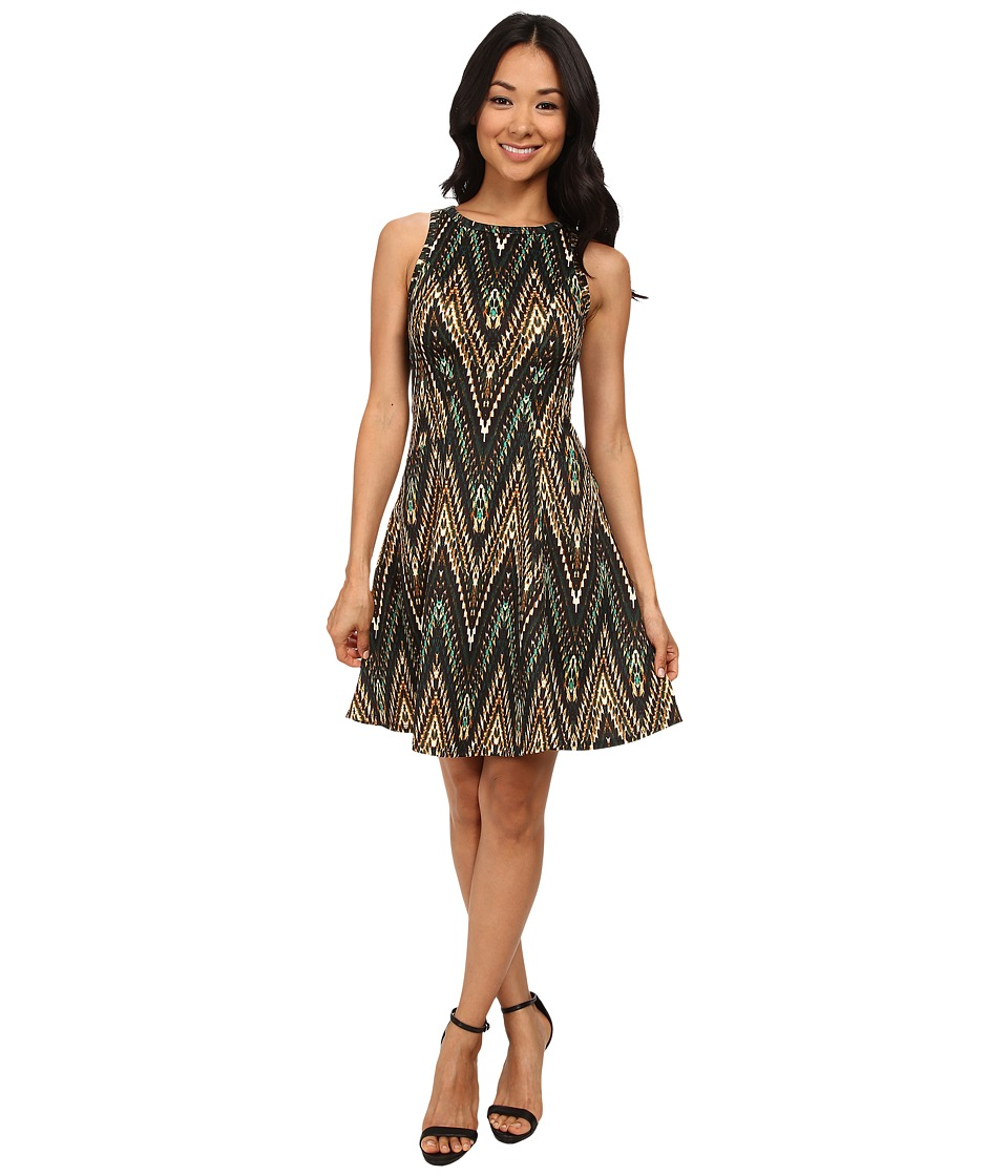 Karen Kane - Evergreen Zig Zag Scuba Dress (Print) Women's Dress