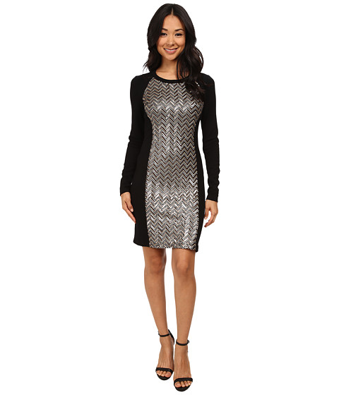Karen Kane - Chevron Sequin Front Dress (Multicolor) Women's Dress