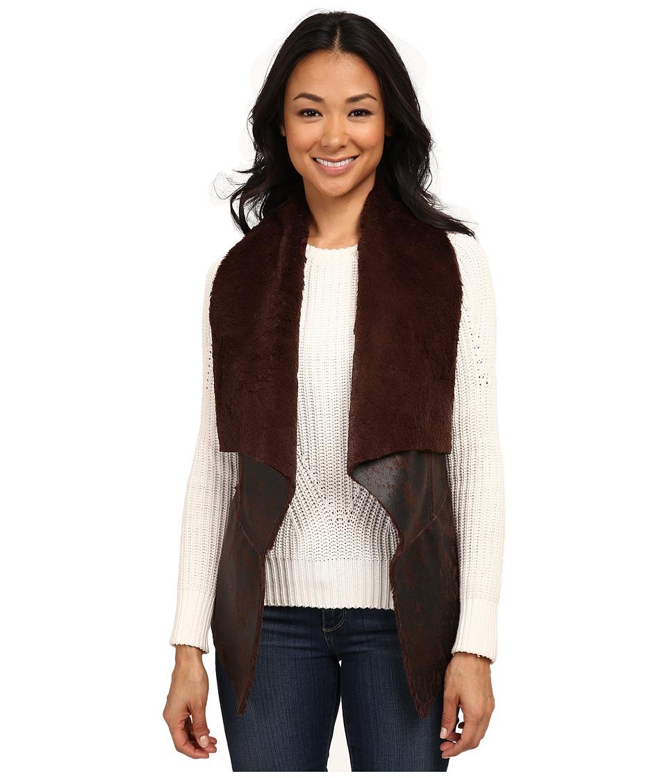 Karen Kane - Drape Front Faux Fur Vest (Brown) Women's Vest