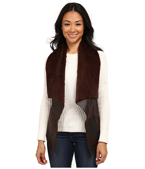 Karen Kane - Drape Front Faux Fur Vest (Brown) Women