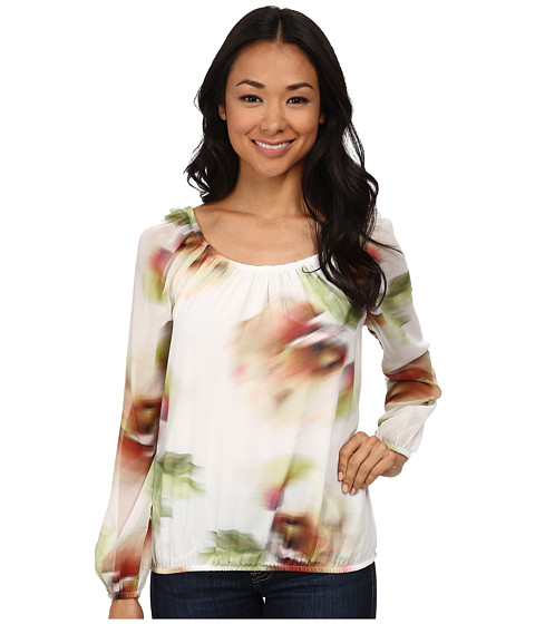 Karen Kane - Print Peasant Blouse (Forest Green) Women's Blouse