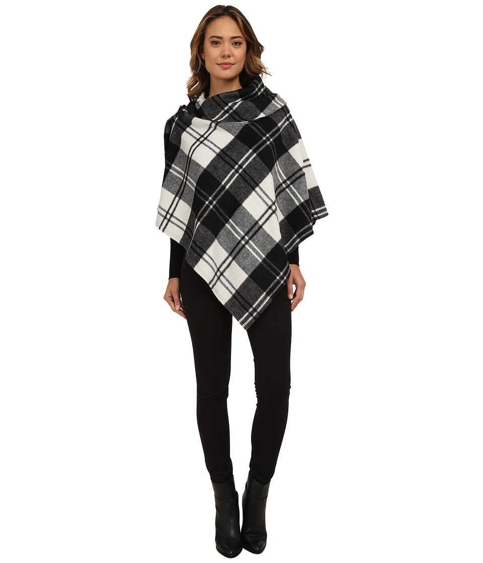 LAUREN by Ralph Lauren - Oversized Check Bridle Buckle Poncho (Black/Cream) Women