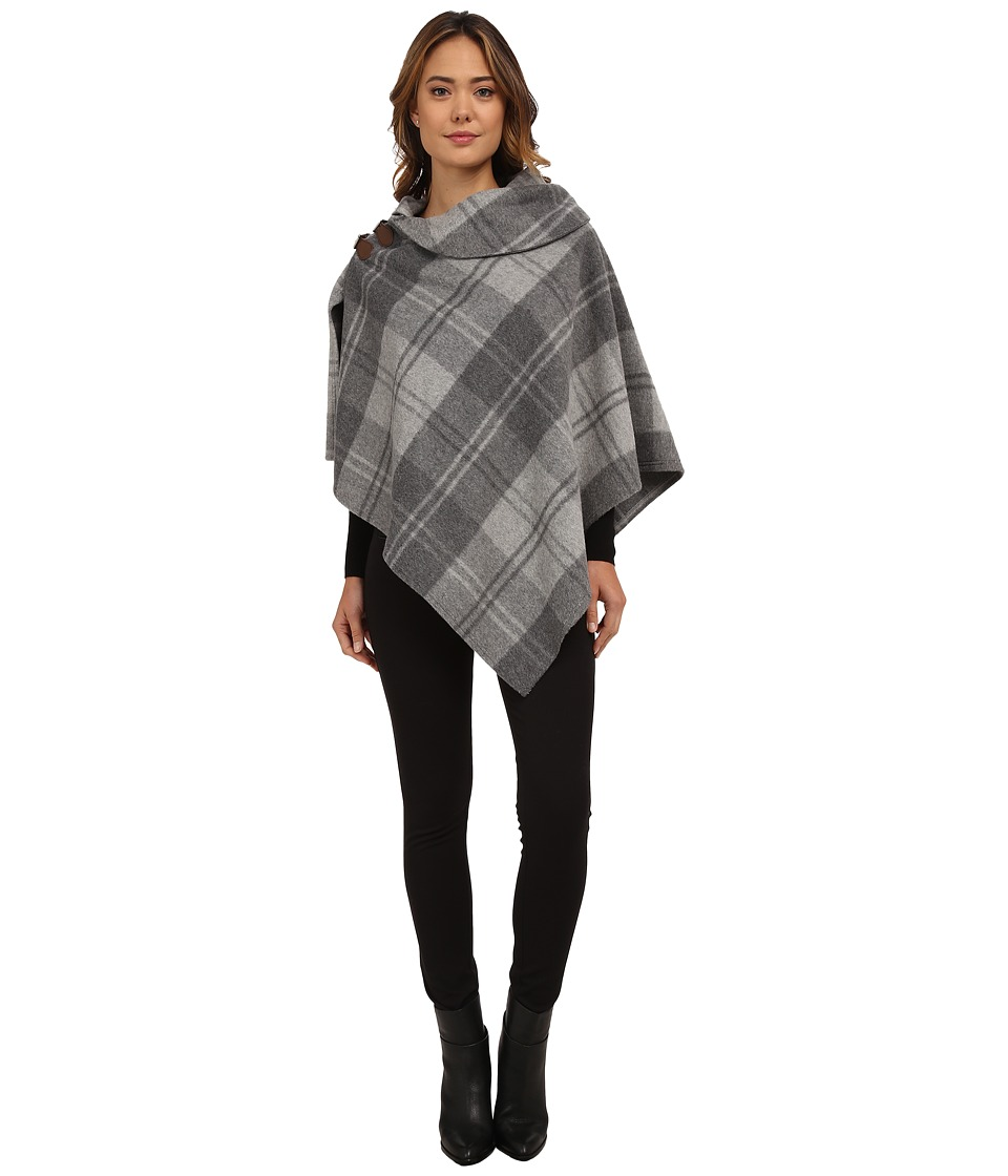 LAUREN by Ralph Lauren - Oversized Check Bridle Buckle Poncho (Fawn Grey Heather) Women