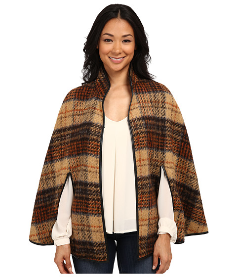 Karen Kane - Plaid Cape (Brown) Women