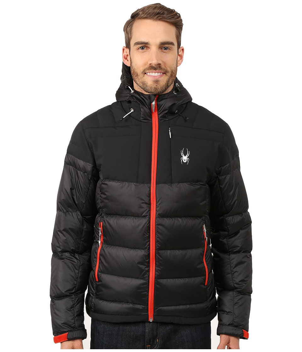 Spyder - Bernese Down Jacket (Black/Black/Volcano) Men's Coat