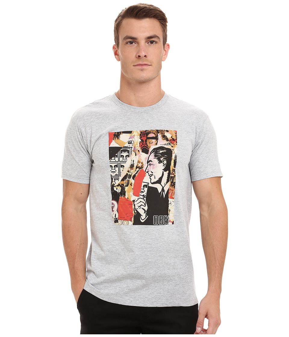 Obey - Post No Bills Tee (Heather Grey) Men's T Shirt