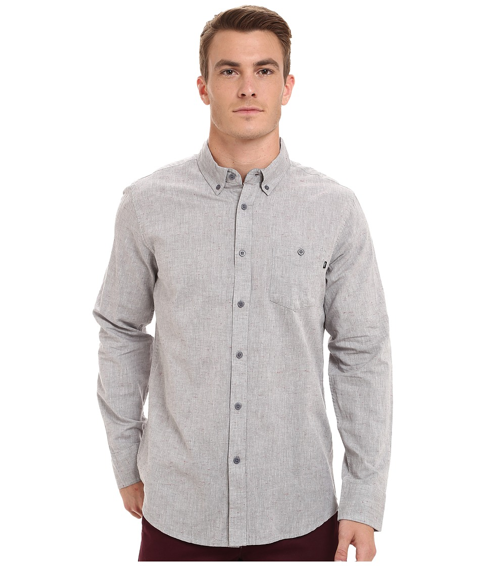 Obey - Benson Long Sleeve Woven Top (Grey) Men's Long Sleeve Button Up