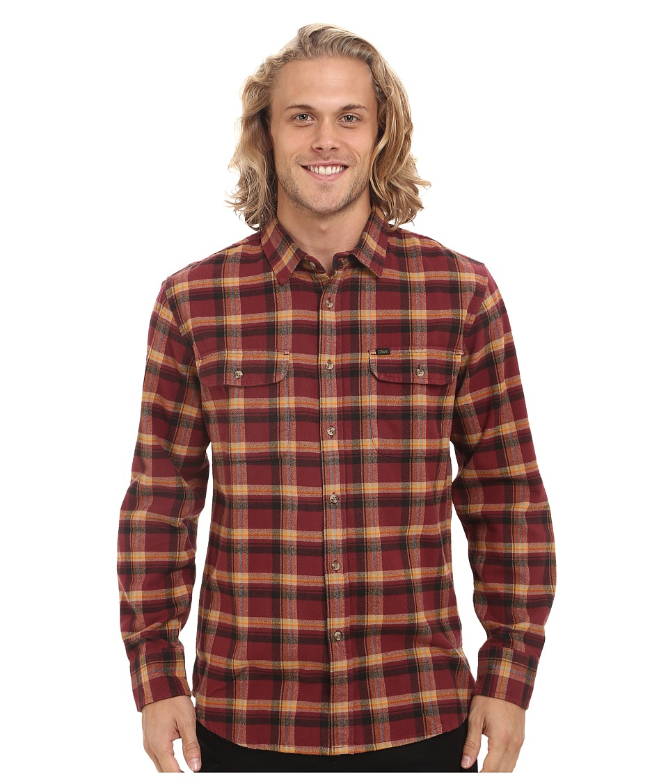 Obey - Conner Long Sleeve Woven Top (Burgundy Multi) Men