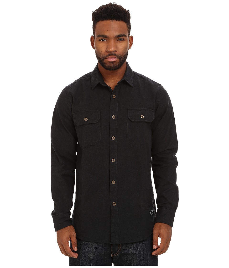 Obey - Gil Long Sleeve Woven Top (Black Multi) Men's Clothing