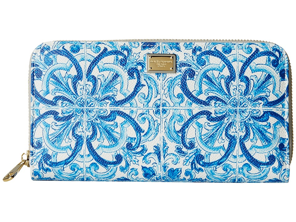 Dolce & Gabbana - Zip Around Wallet (Blue/White) Wallet Handbags