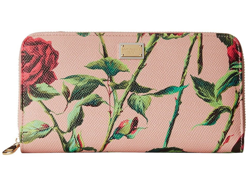 Dolce & Gabbana - Zip Around Wallet (Blush Background) Wallet Handbags