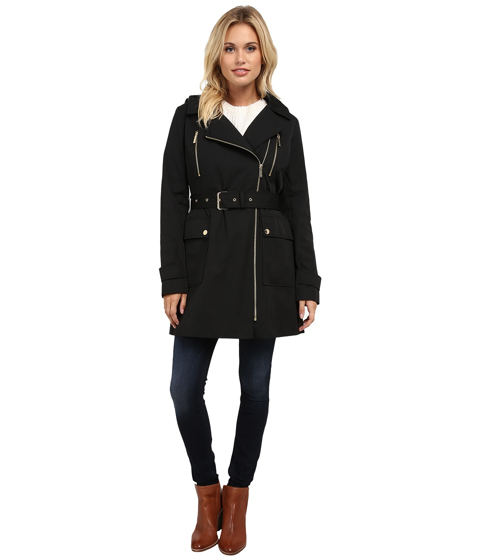 MICHAEL Michael Kors - Asymmetrical Zip Trench (Black) Women's Coat