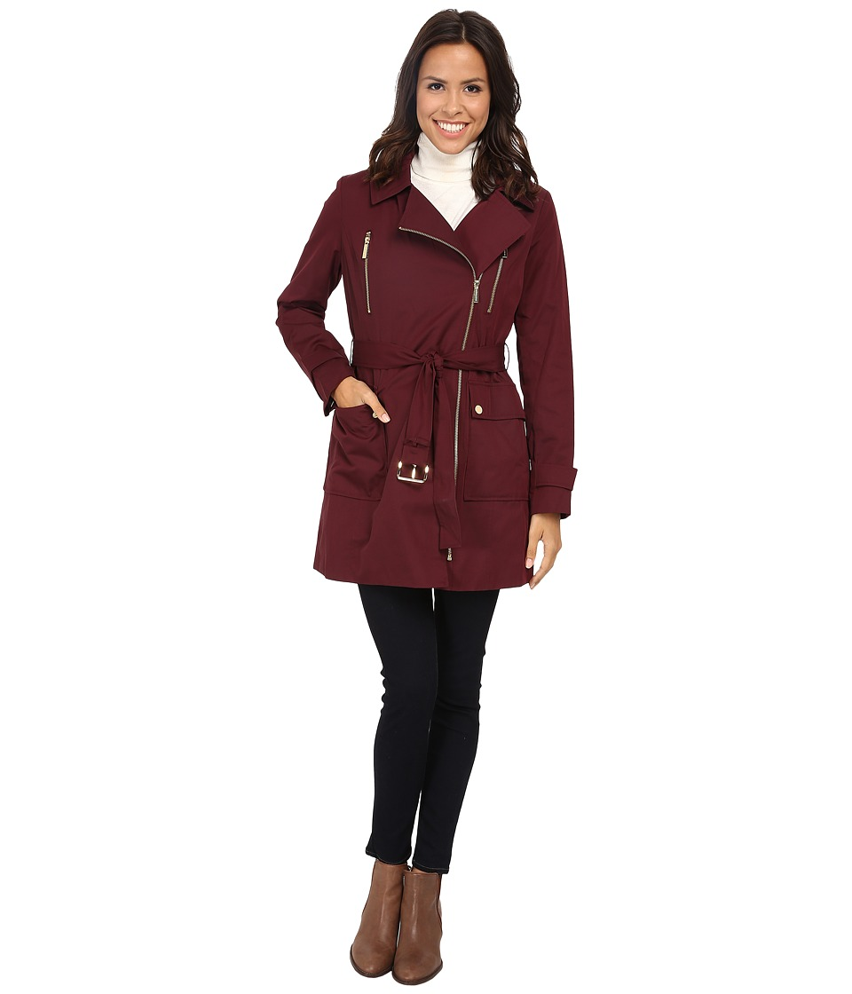 MICHAEL Michael Kors - Asymmetrical Zip Trench (Burgundy) Women's Coat