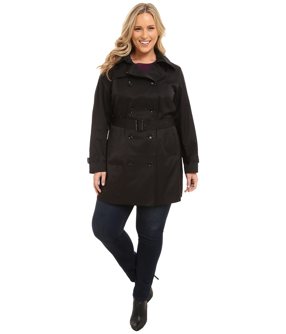 MICHAEL Michael Kors - Plus Size Double-Breasted Trench (Black) Women's Coat
