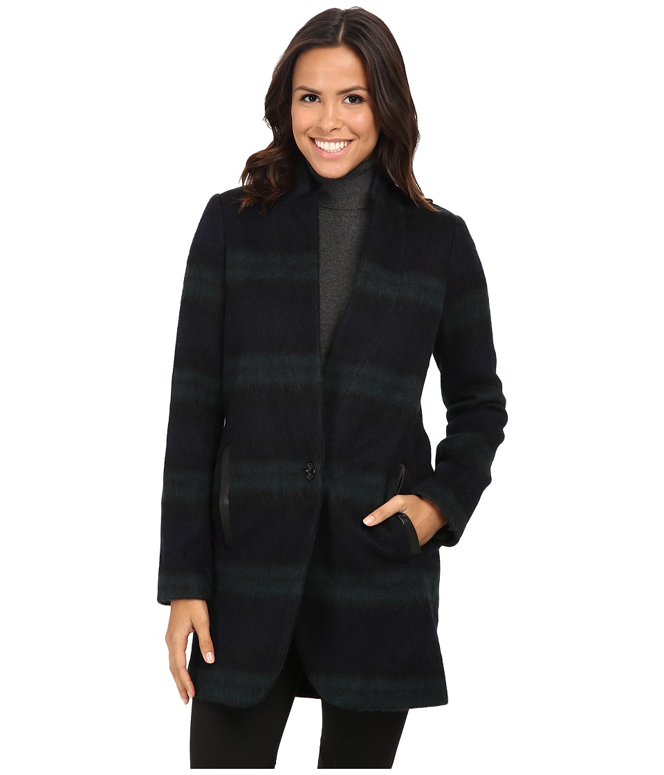MICHAEL Michael Kors - Plaid Menswear Wool Coat (Black/Green) Women's Coat
