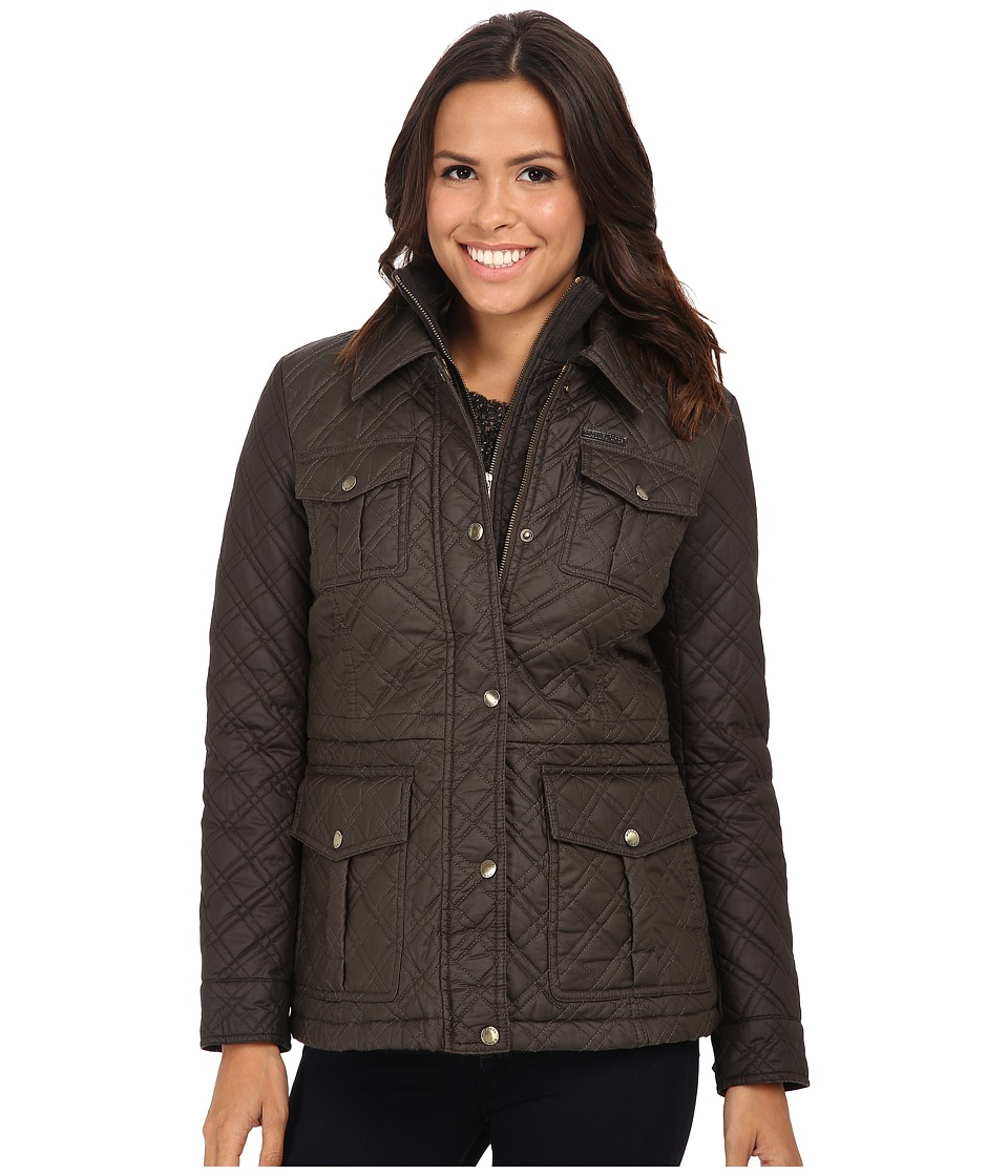 MICHAEL Michael Kors - Quilted Field Jacket w/ Bib (Bark/Graphite) Women's Coat