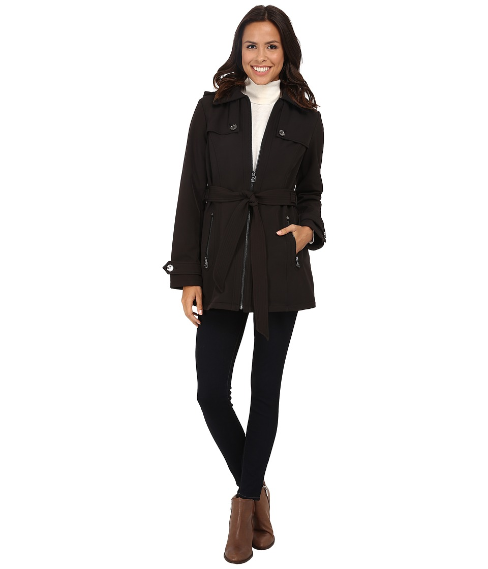 MICHAEL Michael Kors - Zip Front Belted Soft Shell (Black) Women's Clothing