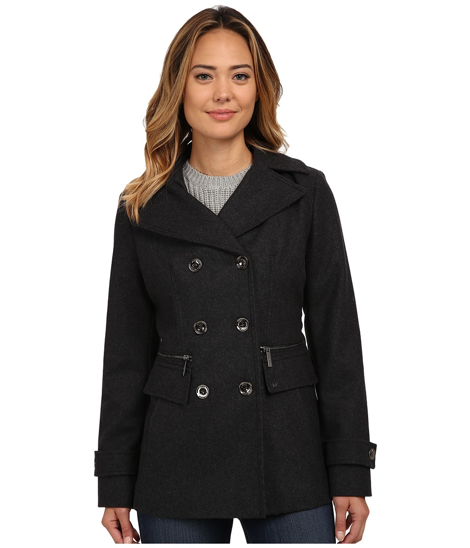 MICHAEL Michael Kors - Wool Double-Breasted Peacoat (Charcoal) Women's Coat