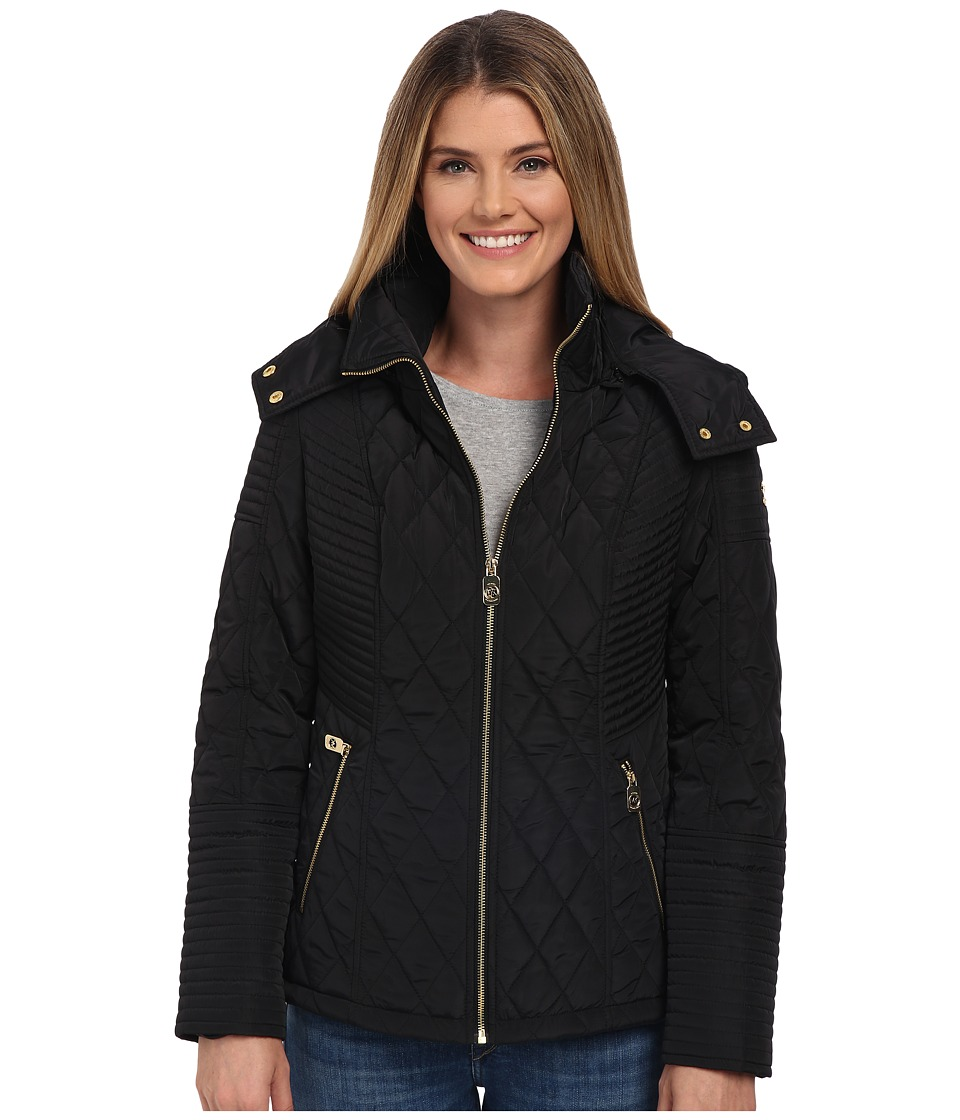 MICHAEL Michael Kors - Zip Front Hooded Quilt (Black) Women's Clothing