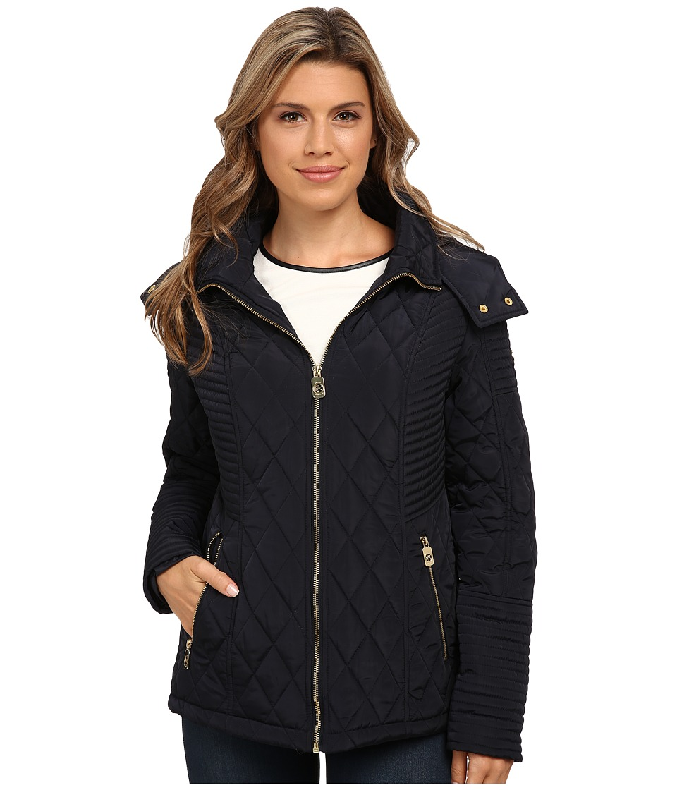 MICHAEL Michael Kors - Zip Front Hooded Quilt (Navy) Women's Clothing