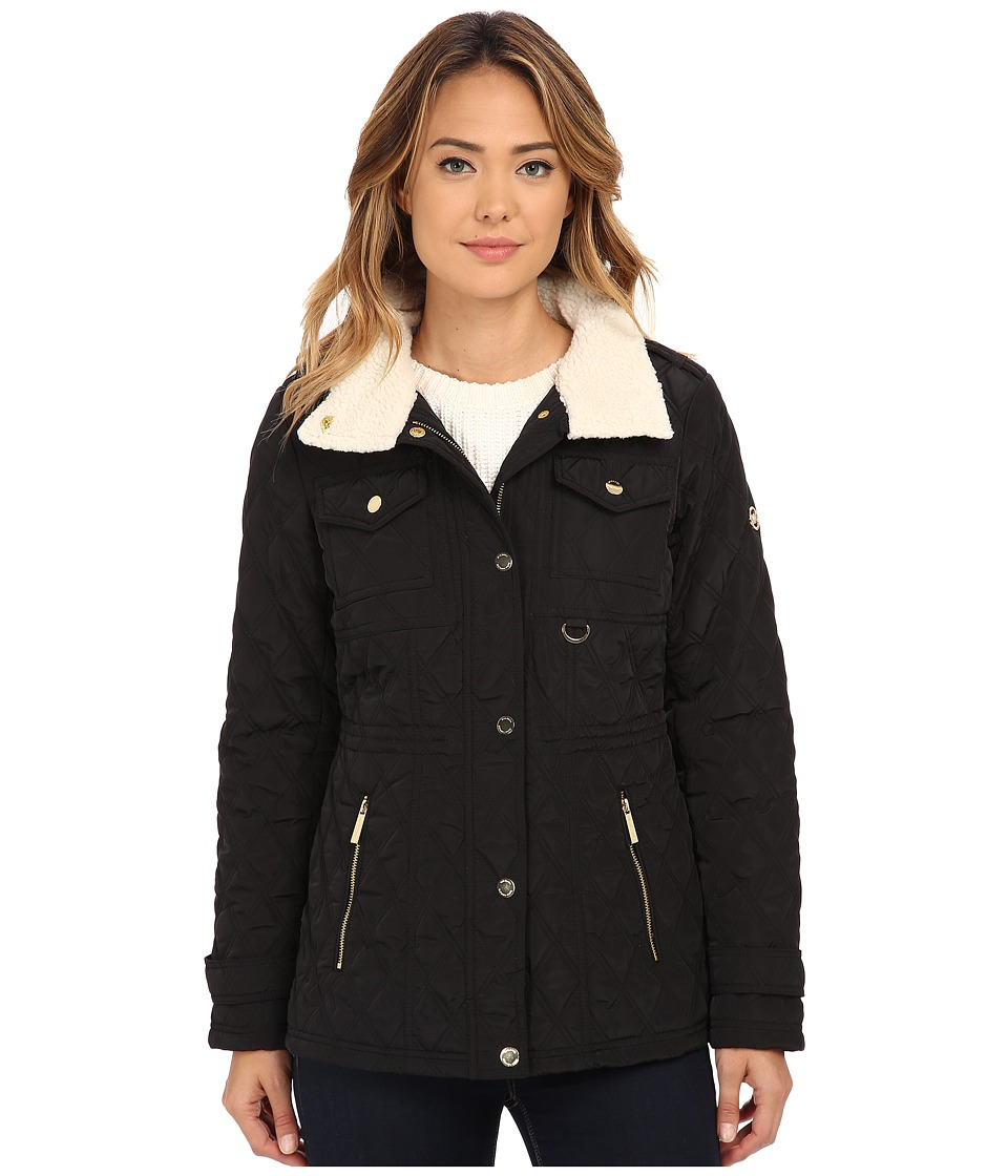 MICHAEL Michael Kors - Sherpa Lined Snap Front Quilt (Black) Women's Clothing